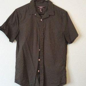Forever 21 Dark Green Print Button Down Size S